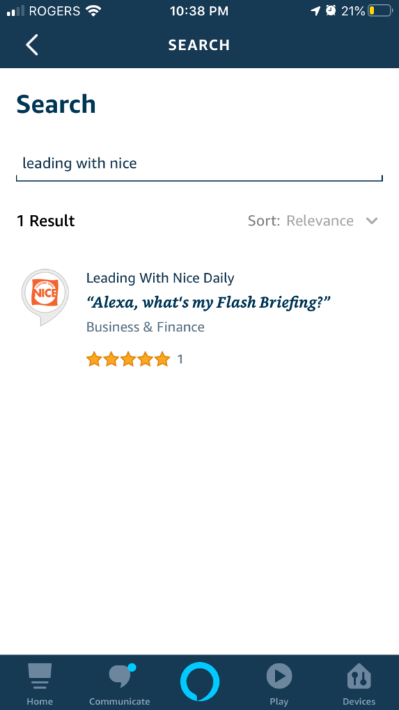 The search screen in the Alexa App